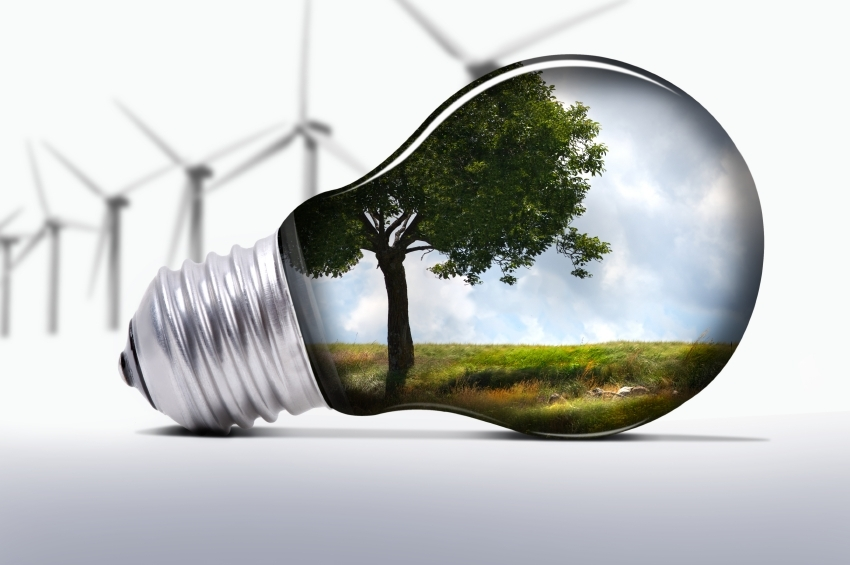 Lightbulb with windfarm image
